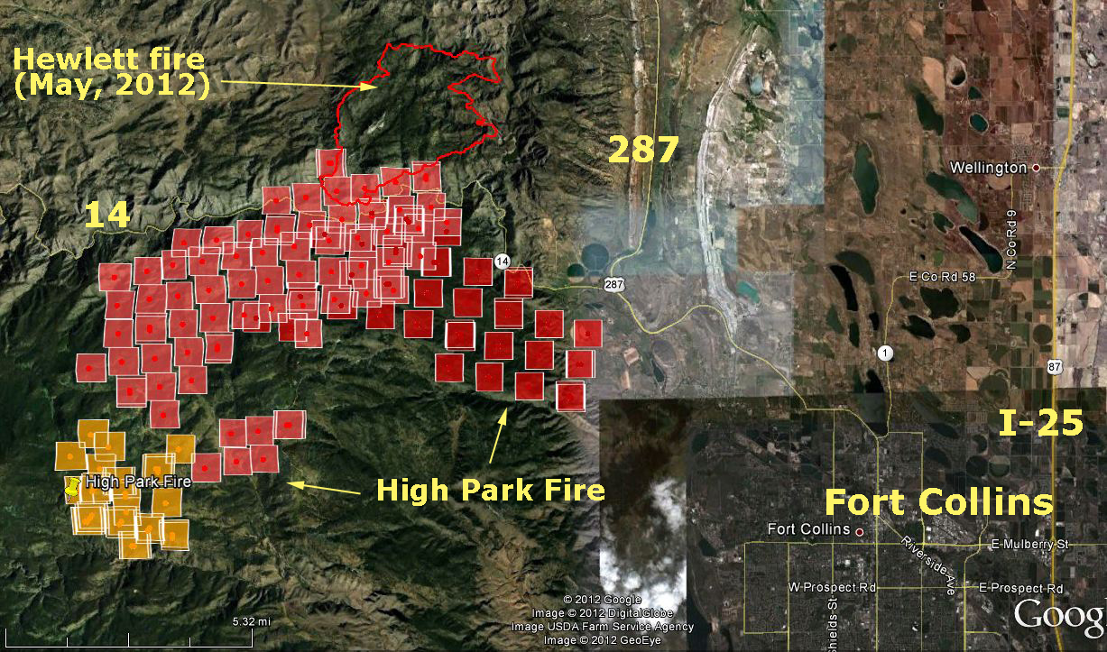 Map of High Park fire, Fort Collins, Colorado