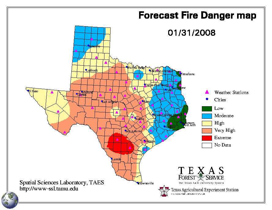 Texas Wildfire Map texas fires