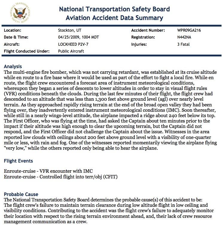 NTSB accident summary p2v