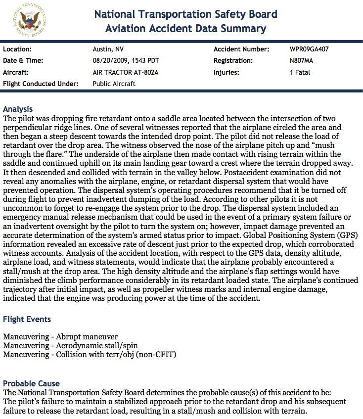 NTSB summary report SEAT accident 2009