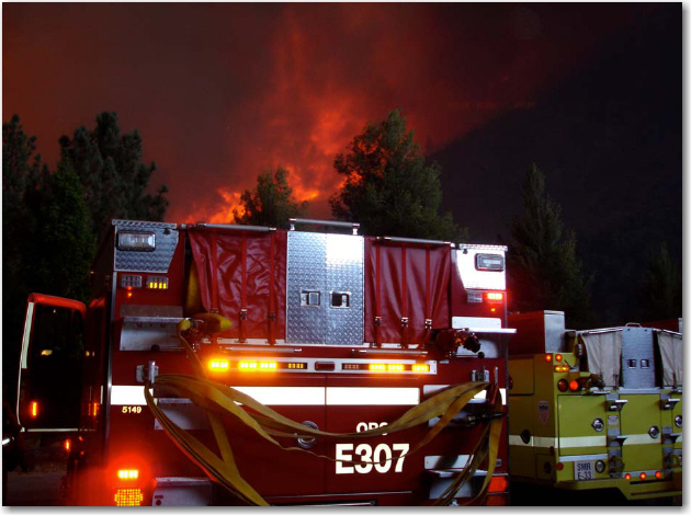 The Station fire approaches the safety zone of OCFA's engine strike team in Bib Tujunga Canyon
