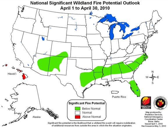 Wildfire potential April 2010