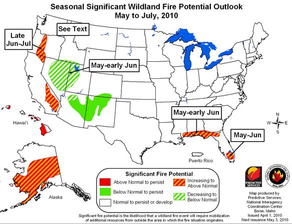 Wildland fire potential May through July, 2010