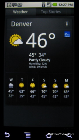 News and weather home screen
