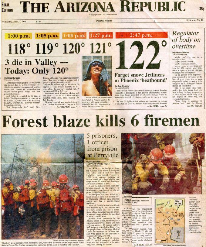 Dude fire, Arizona Republic newspaper