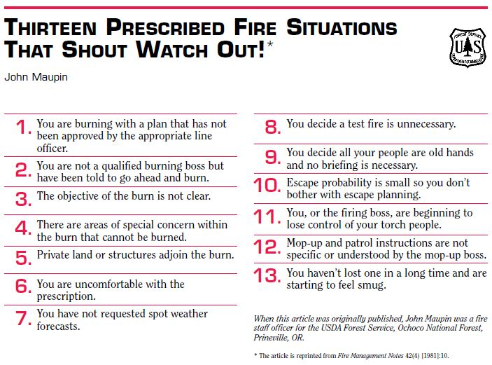 13 prescribed fire watchout situations