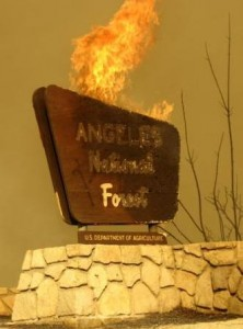 Station fire sign burning