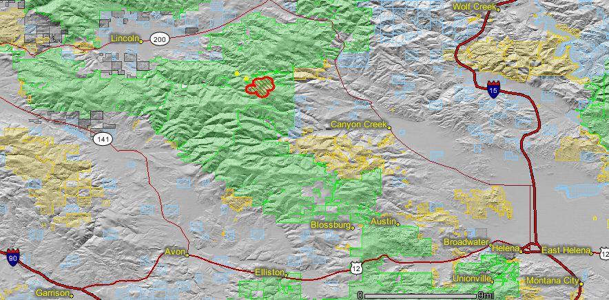 Davis fire near Lincoln Montana