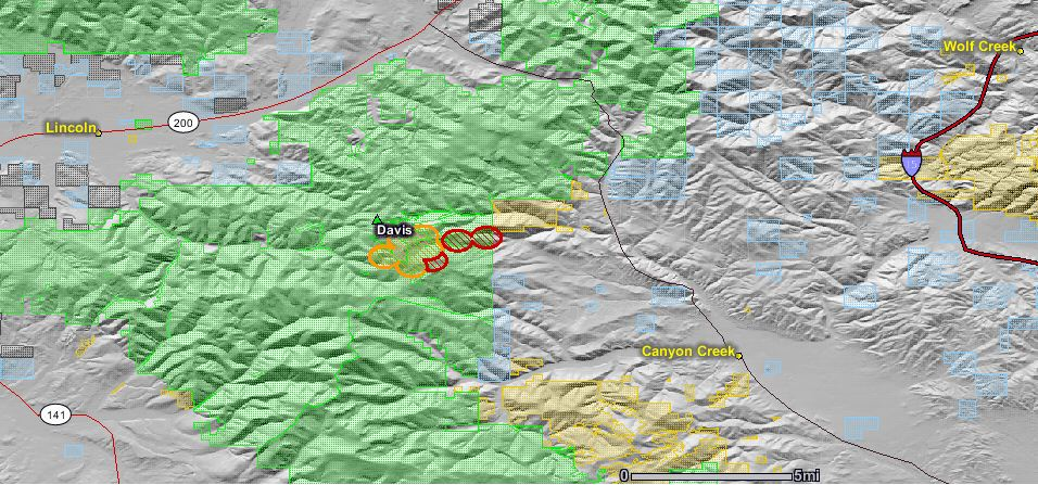 map of davis fire August 27 2010