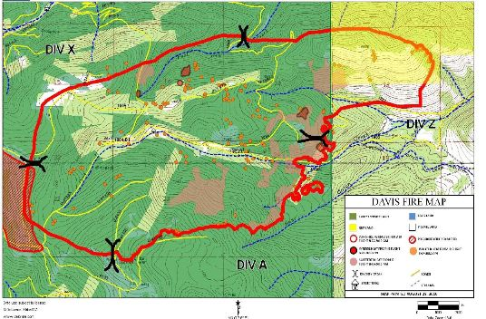 Davis Fire Official Map 8 27 2010 A Wildfire Today