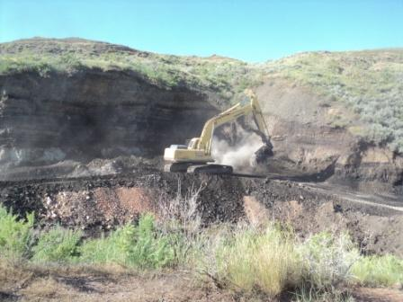 excavating coal fire