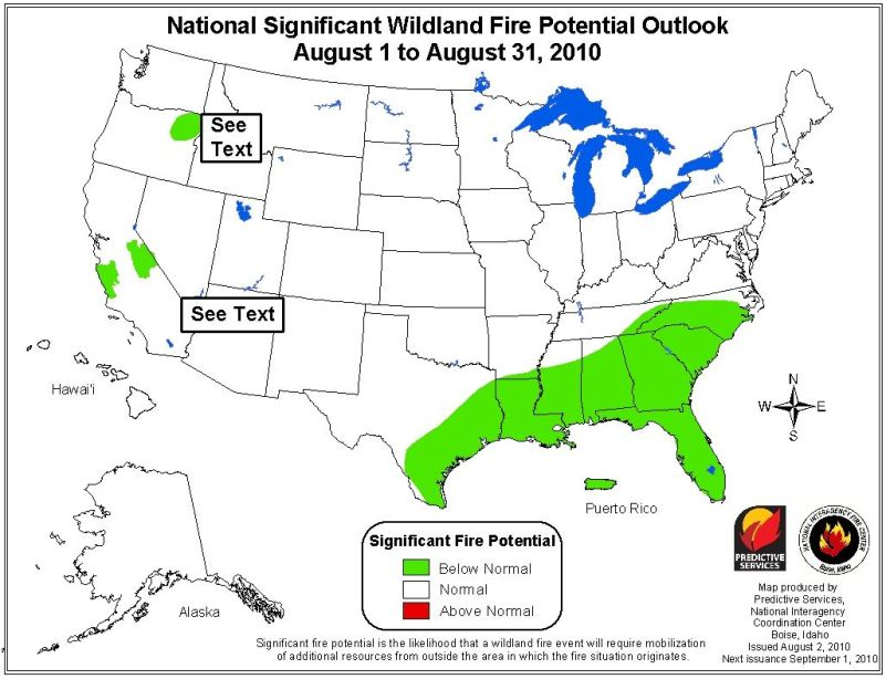 wildfire potential, august, 2010