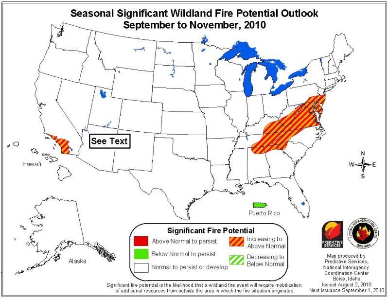 wildfire potential, september through november, 2010