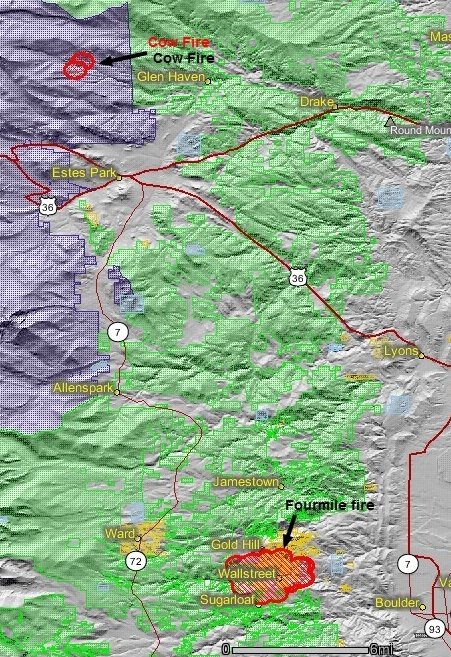 Cow and Fourmile fires, 9-6-2010
