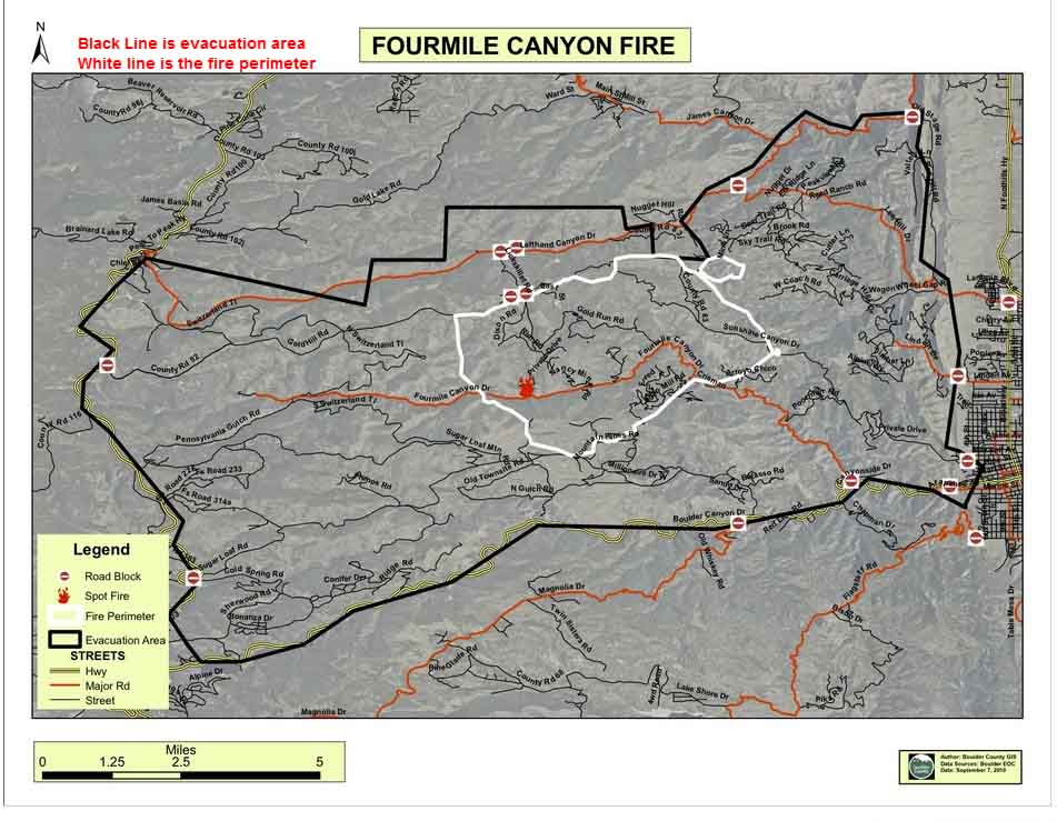 Fourmile fire evacuation and perimeter