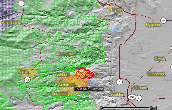 Map of Fourmile fire near Boulder