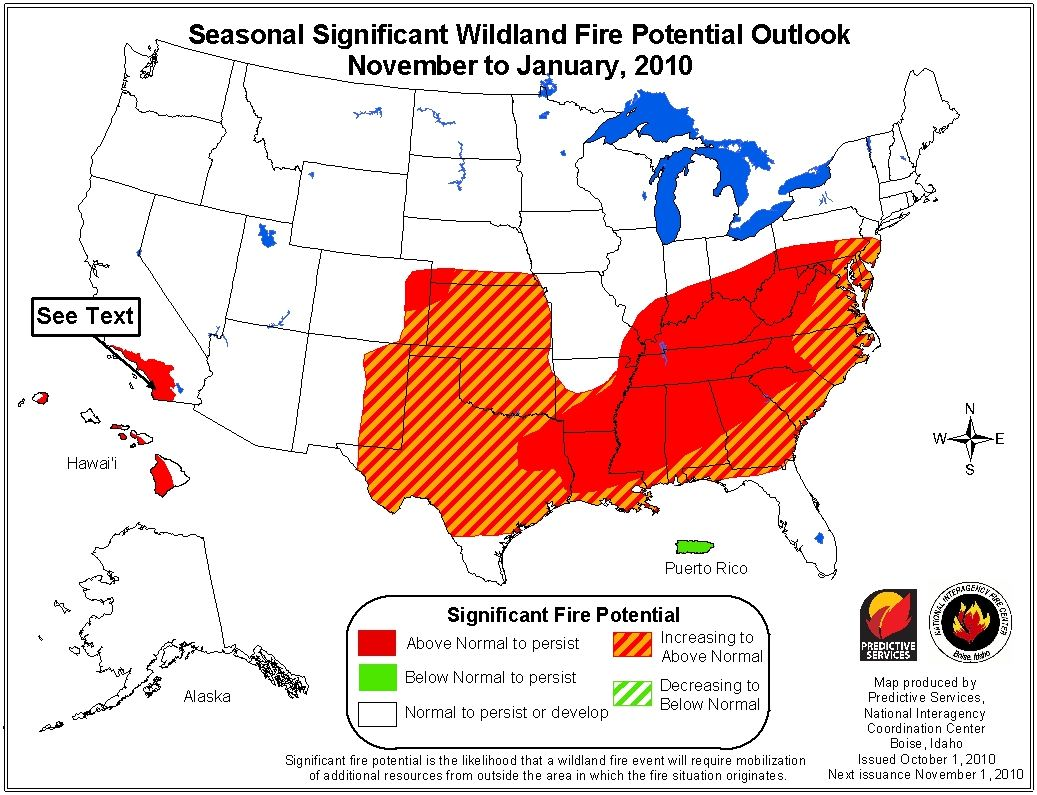 wildfire outlook october through january 2011