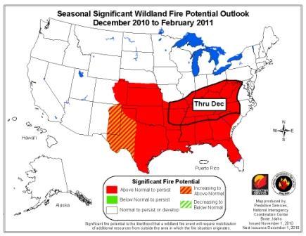 November through February wildfire outlook