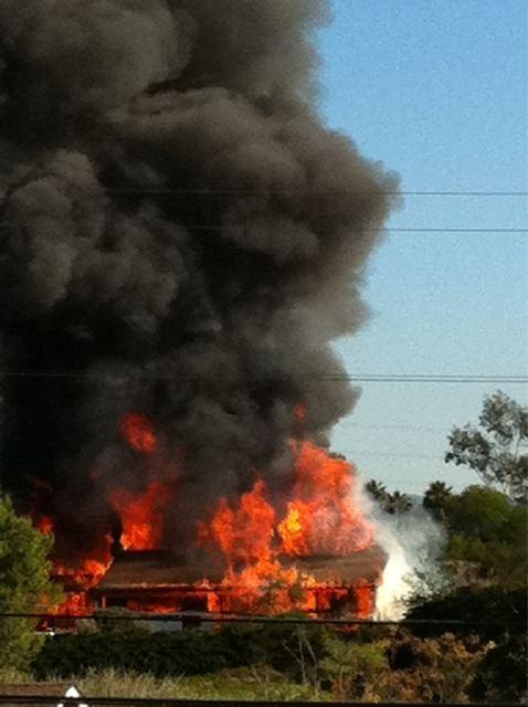 Bomb house burning