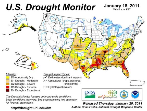 Drought monitor January 2011