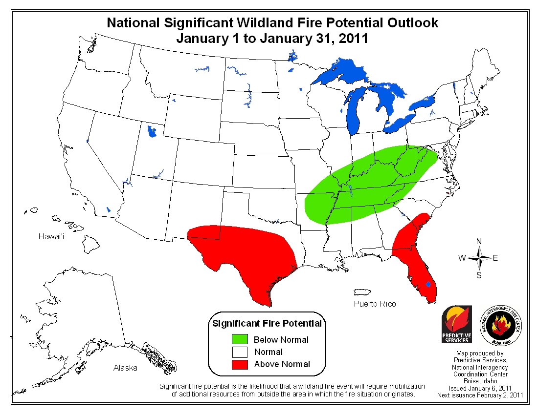 monthly wildfire outlook Jan 2011