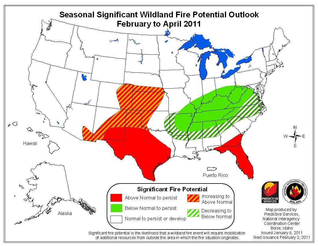seasonal wildfire outlook Feb-Apr 2011