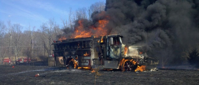 Connecticut Fire Engine Burns In Brush Fire