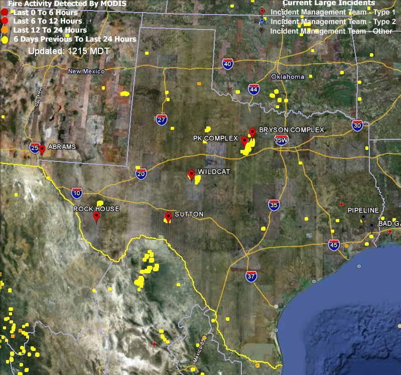 Map of Texas fires April 23, 2011