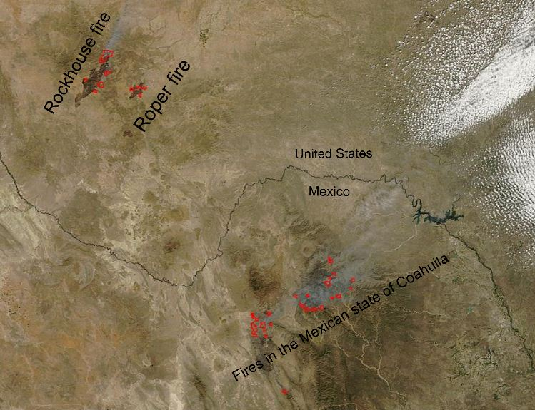 Map of Mexico and Texas fires 4-12-2011