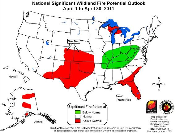 Wildfire potential, April 2011