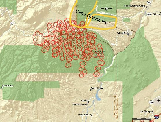 Map of Las Conchas fire, 3:55 a.m. MT, 6-27-2011