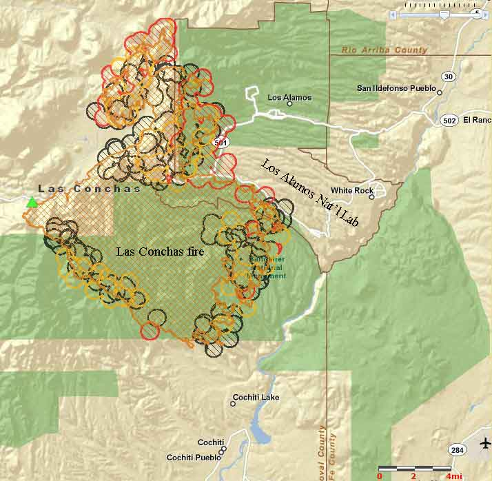 Las Conchas fire map 1135 6-29-2011