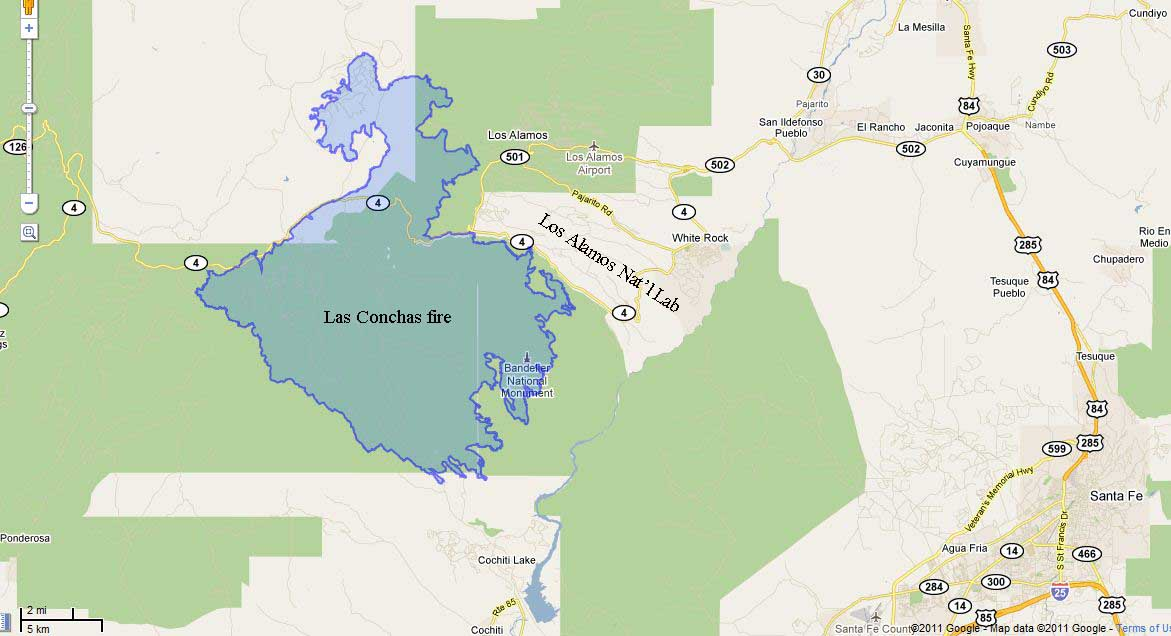 Las Conchas fire map 2343 6-28-2011