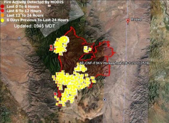 Map of Horseshoe 2 fire 0945 6-2-1011