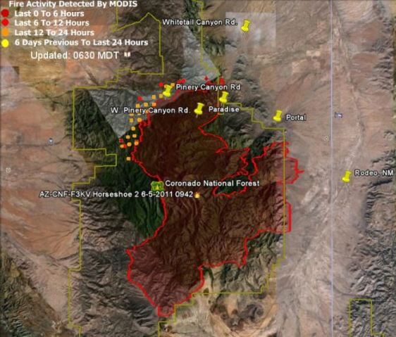 Map of Horseshoe 2 fire data 0234 6-7-2011