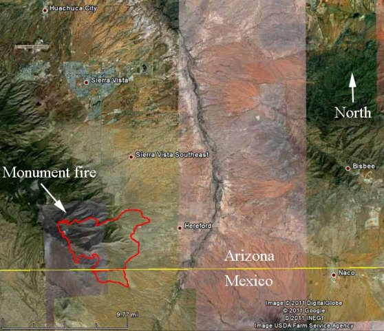 Map Of Monument Fire 2240 6 15 2011 Wildfire Today