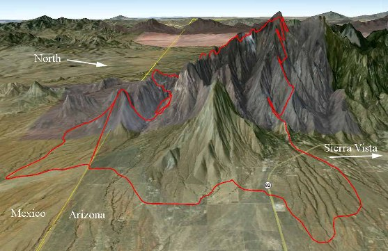 Map of Monument fire, 3-D, data 2240 6-15-2011