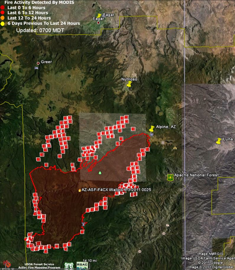 Map of Wallow fire 0700 6-4-2011