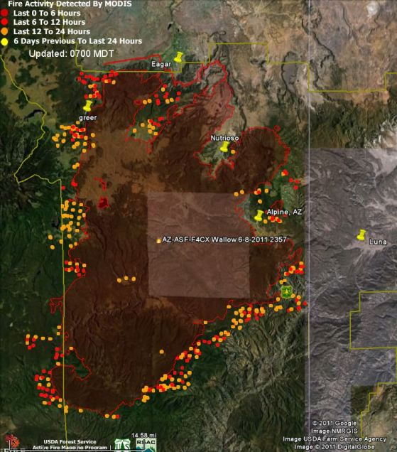 Map of Wallow fire, data 0305 6-10-2011