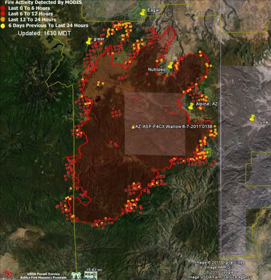 Map of Wallow fire data 1426 6-8-2011