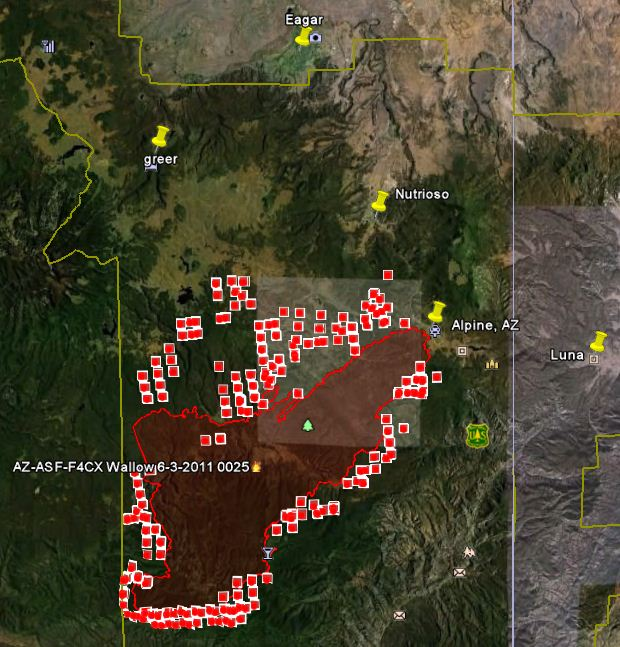Map of Wallow fire, data 1450 6-4-2011