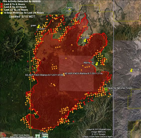 Map of Wallow fire, data 2350 6 8 2011   Wildfire Today