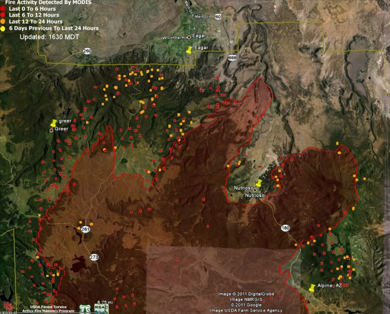 Map of Wallow fire north side data 1426 6-8-2011