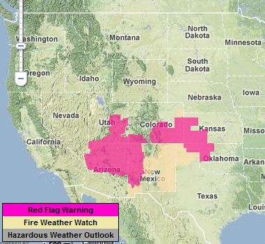 Critical fire weather for much of the southwest