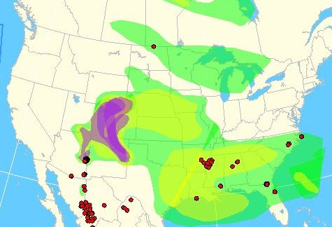 Map of smoke from wildfires, June 5, 2011
