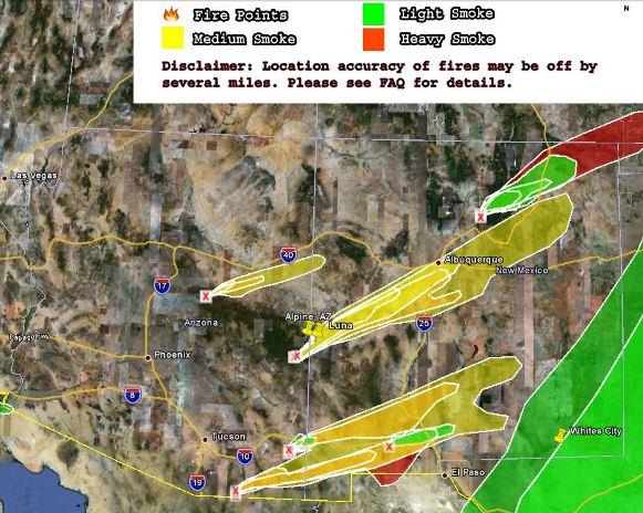 Wildfire smoke map, 6-19-2011
