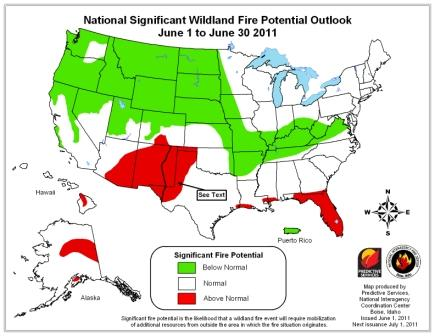 Wildfire potential, June through September, 2011