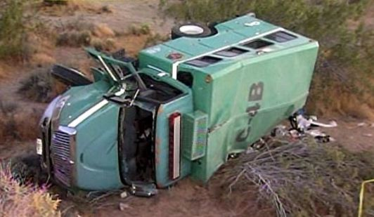 9 firefighters injured in crew carrier crash