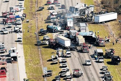 File photo of the wreckage from the January 9, 2008 crash on Interstate 4 in Florida. The Ledger.