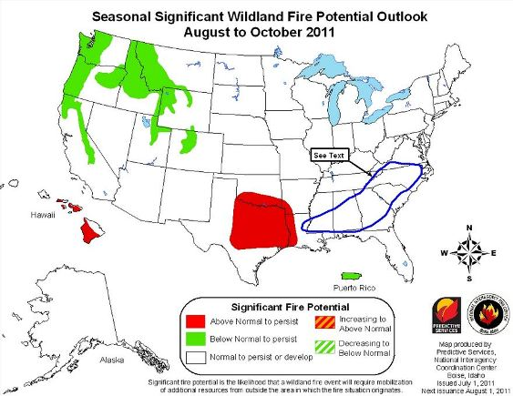 Wildfire potential, July through October, 2011